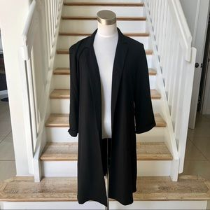 Mosaic & Co black long open blazer. Size L